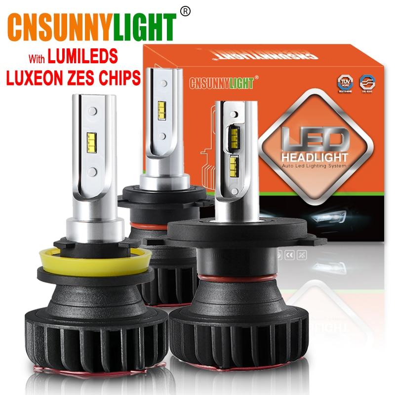 CNSUNNYLIGHT Mini LED H11 H7 H1 com Lumileds Led Farol Do Carro Lâmpadas H4 12000LM 72 W/set 9005 Lampada 9006 H8 automotivo Lâmpada