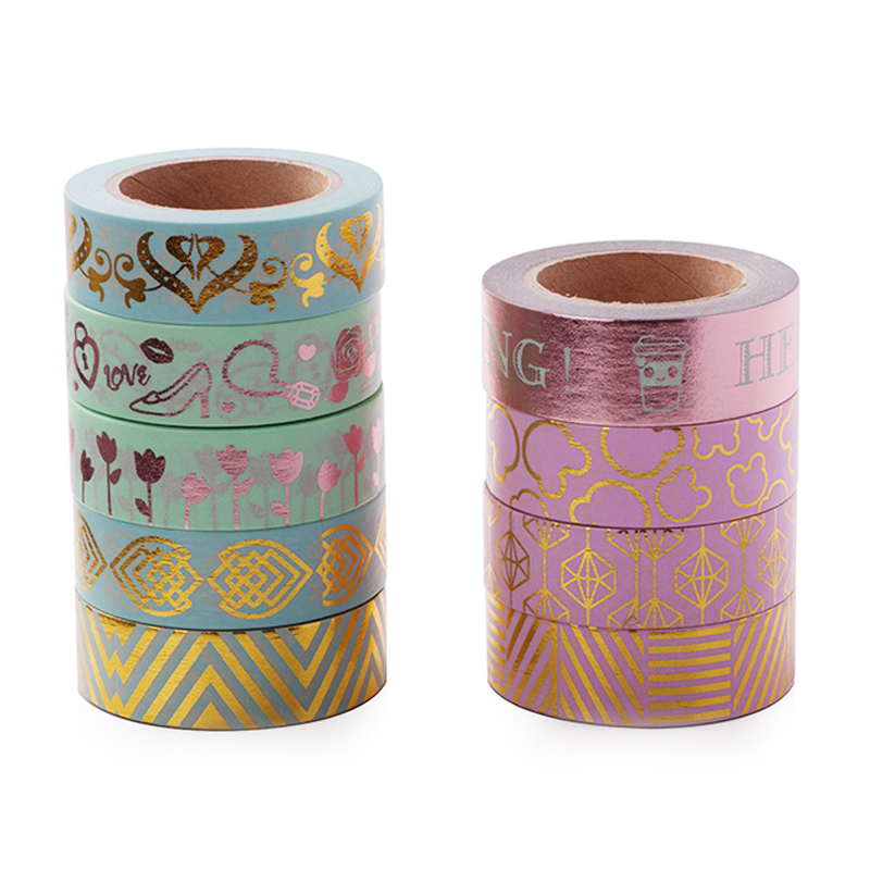 Pink & Green Foil Washi Tape 15mm*10m Kawaii Decoration Tools Hot stamping Diary Decorative Washi Tape Tearable Tapes new 2x christmas golden foil washi paper tape pink background golden washi tape 15mm 10m
