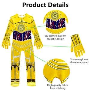 Image 4 - Combinaisons de film pour enfants, Costumes Star Wars, Robot Cosplay, fournitures de fête et dhalloween, couvre chef Robot C 3PO pour garçons