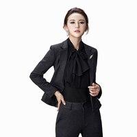 Элегантный Для женщин Костюмы офисные Наборы для ухода за кожей Формальные Тонкий Повседневная обувь Для женщин S Бизнес костюм Мода корейс