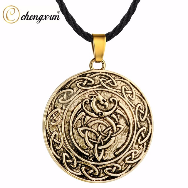 Chengxun Antique Gold Animal Pendant Men Boys Dragon Necklace Valentine S Gift Norse Viking Amulet Pagan Jewelry