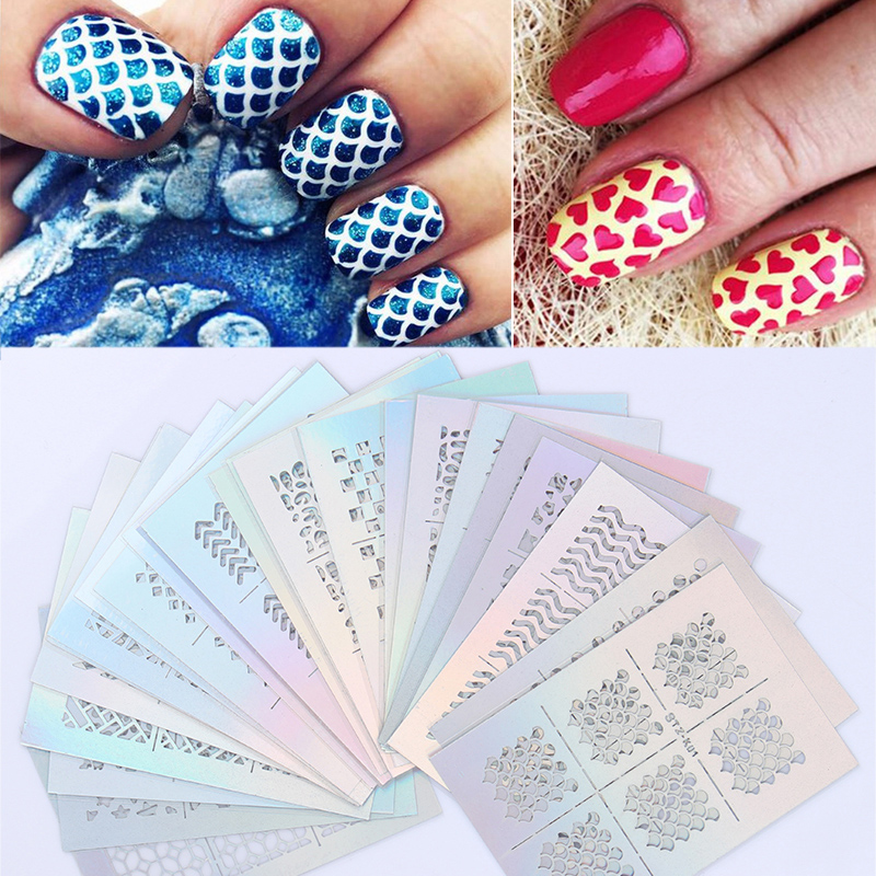 Online 24 Sheets Star Heart Flower Fish Scale Nail Vinyls Set Art Stencil Stickers Kit Manicure Tips Decal Decorations Stk01 Aliexpress