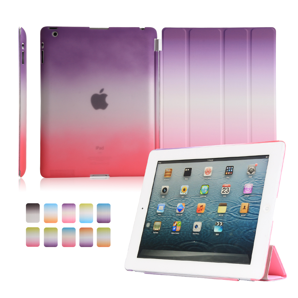 case for ipad 2 3 4 YRSKV color rainbow Gradient intelligent wake-up sleep smart cover split shell case for apple iPad2 3 4