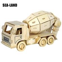 Children Toys 3D Wooden Puzzles Concrete Mixer Series Model 93 Pcs Educational Classic IQ For Adult