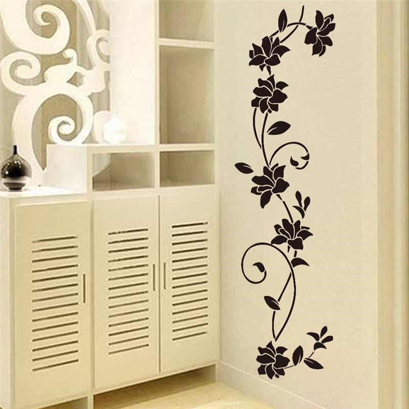 buy black flower vine wall stickers refrigerator window cupboard home. Black Bedroom Furniture Sets. Home Design Ideas