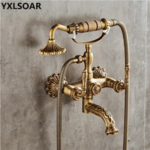 Bathtub Faucet Wall Mounted Antique Bronze Carved Bathtub Mixer Tap With Hand Shower Dual Handle Bathroom Bath Shower Faucets bathtub faucet wall mounted brass bathtub mixer tap bathroom bath shower faucets with hand shower new arrival black shower set