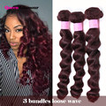 7A Grade Burgundy Brazilian Loose Wave Virgin Hair 3 Bundles Amazing Beauty 99J Red Brazilian Hair Wave Bundles Cheap Human Hair