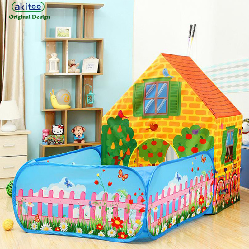 Akitoo 126 New Arrival Super Big Children Baby Garden Tent Indoor Outdoor Game House Princess Toy Tent And The Ocean Balls