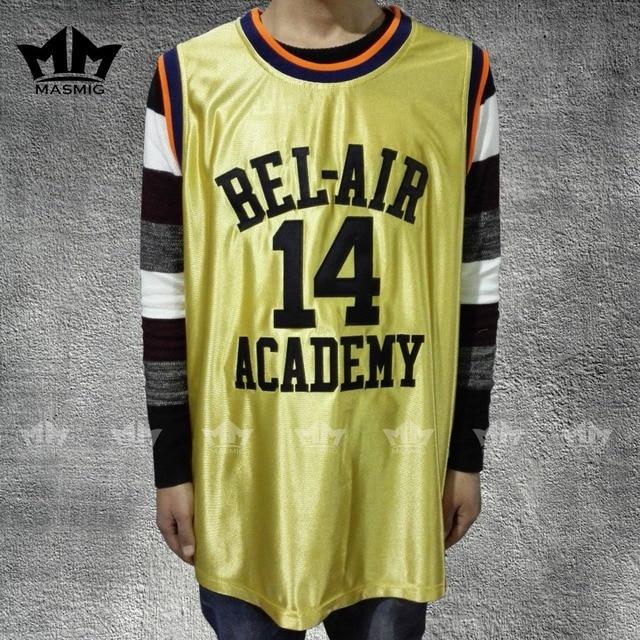 MM MASMIG  Gold Gear  Will Smith 14 Bel-Air Academy Basketball Jersey b15433fc9