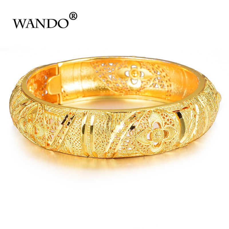 WANDO Yeni geniş Etiyopya Bileklik Kadınlar için Altın Renk Dubai Düğün Hediyesi Bilezik Afrika Arap Bonzer Takı wb152