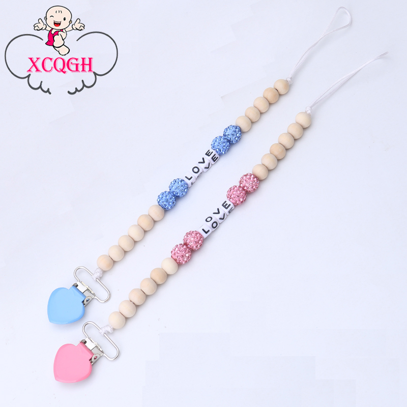 XCQGH Personalized Name Bling Pacifier Chain For Puting Chupetas Para Bebe Pacifier Clips Chain Chain Holder Soother For baby