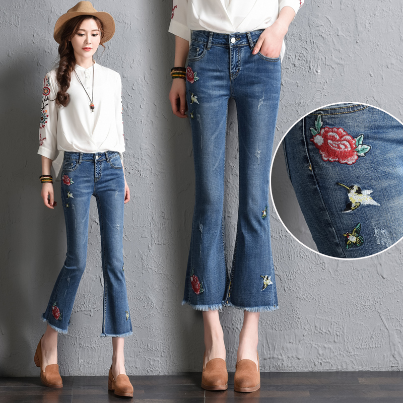 retro style embroidery trend flower jeans female 2017 autumn and summer slim high waist horn. Black Bedroom Furniture Sets. Home Design Ideas