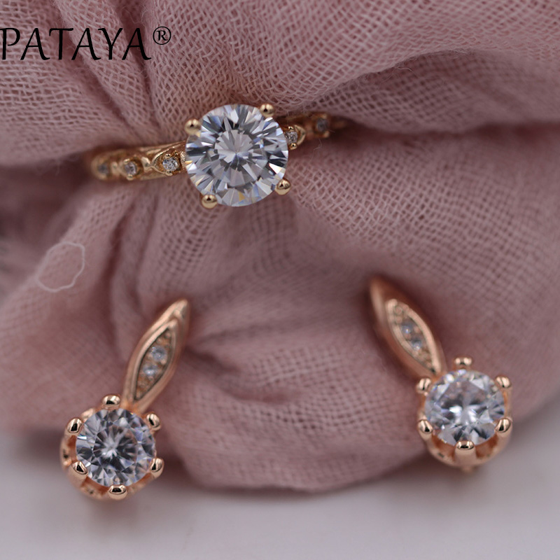 PATAYA New Arrivals 585 Rose Gold Wedding Jewelry White AAA Natural Zirconia Earrings Ring Sets Women Party Unique Jewelry Set