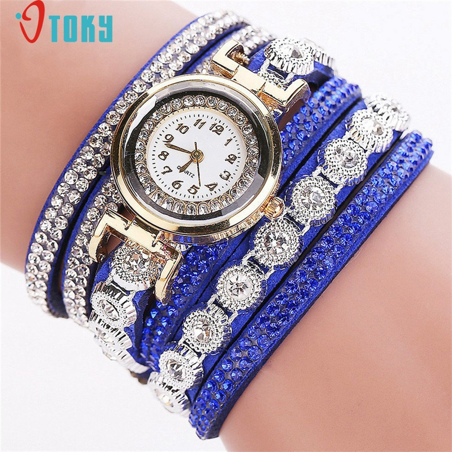 Drop Shipping Quartz Watch Lady Shiny Rhinestone Crystal Bracelet Charms Wrist Watch Women Gift SEPTEMBER27 beautiful chrome bowknot lady s crystal quartz wrist watch