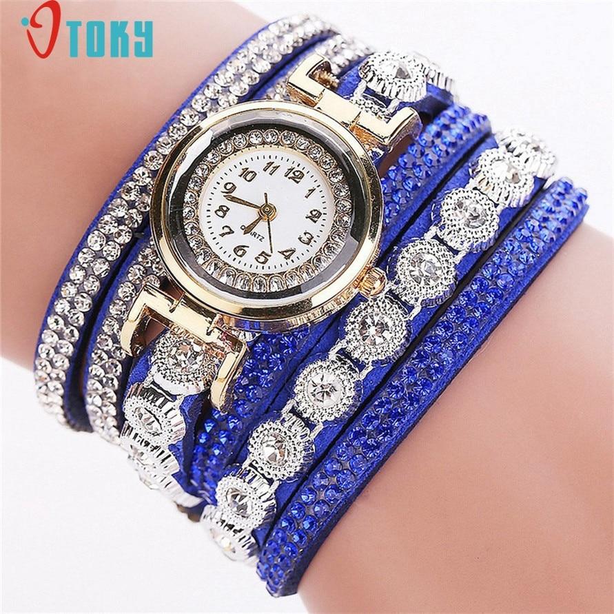 Drop Shipping Quartz Watch Lady Shiny Rhinestone Crystal Bracelet Charms Wrist Watch Women Gift SEPTEMBER27