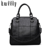 KMFFLY Fashion Leather Women Bags Handbags Women Famous Brands Luxury Designer Plaid Sholder Bag Ladies Casual