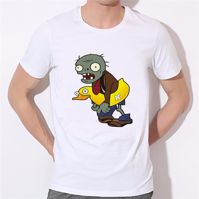 GILDAN 2018 Plants Vs Zombies Tee Men/women T-shirt Cartoon Clothing White Round Neck Boys Clothes T Shirts Cheaper