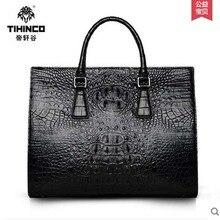 tihinco Crocodile handbag men leather  bags leisure business bag single shoulder bag large capacity briefcase  men computer bag
