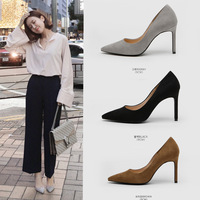 Women Shoes Pumps High Heels 7.5CM Female Shoes Flock Bridal Shoes Stiletto Pointed Toe Women Wedding Pumps Eourpean Ladies Shoe