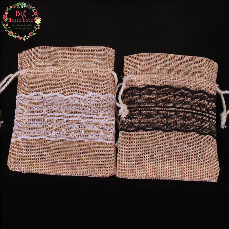 Image 5 - 8.5x11cm 50Pcs Lace Natural Jute Burlap Drawstring Bag Jewelry Gift Candy Bag Home Decoration Wedding Party Decoration Supply-in Gift Bags & Wrapping Supplies from Home & Garden