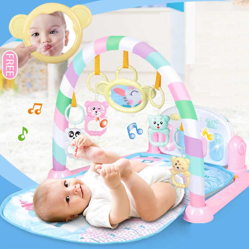 Детский игровой коврик музыкальный Детский ковер с подвесными игрушками развивающий коврик с клавиатурой детские развивающие игры игровой коврик пластик Mart