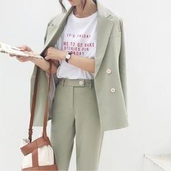 Винтаж двубортный Для женщин брюки костюм светло-зеленый Блейзер с вырезом куртка и штаны с завышенной талией 2019 Весна Офис Одежда Для
