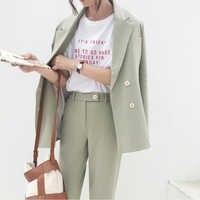 Outono inverno do vintage engrossar mulher calça terno luz verde entalhado blazer jacket & pant 2019 vestuário de escritório feminino conjuntos