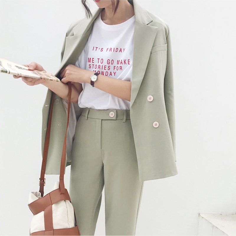 Vintage Autumn Winter Thicken Women Pant Suit Light Green Notched Blazer Jacket & Pant 2019 Office Wear Women Suits Female Sets image
