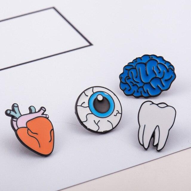 12 pieces/lot Brooch Pins Women Men Enamel Metal Heart Tooth Brain Eye Organ Brooches Badges Cartoon Jewelry Clothes Accessories