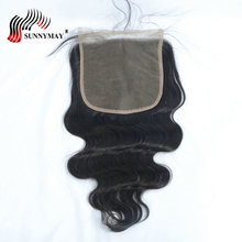 цена на Sunnymay Pre Plucked Lace Closure With Baby Hair 6x6 Bleached knots Brazilian Virgin Body Wave Top Closure For Women