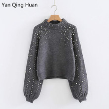 Yan Qing Huan 2019 New Autumn And Winter Round Neck Pullover Loose Sweater Womens Short Pearl Harajuku Decorative
