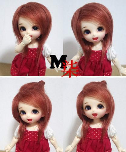 """3-4/"""" 9-10cm BJD fabric fur wig Black mid-length for AE PukiFee lati 1//12 Doll"""