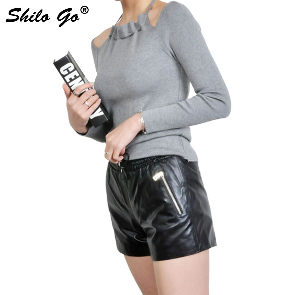 Leather Shorts Womens Spring Fashion Sheepskin Genuine Leather Shorts Tie Stretch High Waist Side Zipper Wide Leg Short