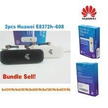 Lot of 2pcs Unlocked Huawei E8372 E8372h-608 Wingle LTE Universal 4G USB Modem car wifi plus 2pcs antenna