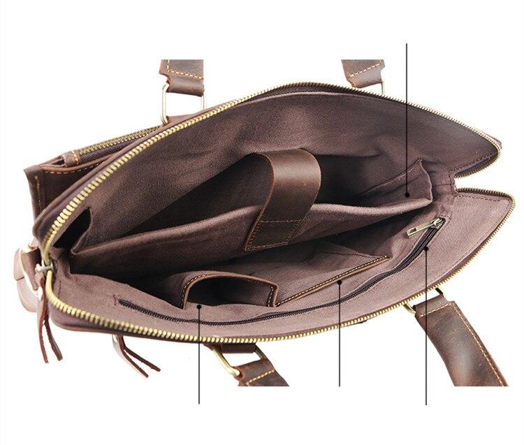 Vintage Fashion Brand Designer Crazy Horse Leather Men Handbags 14