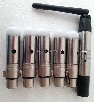 6 pièces: 1 pièces Émetteur + 5 pièces Récepteurs 2.4G Sans Fil Contrôleur D'éclairage DMX
