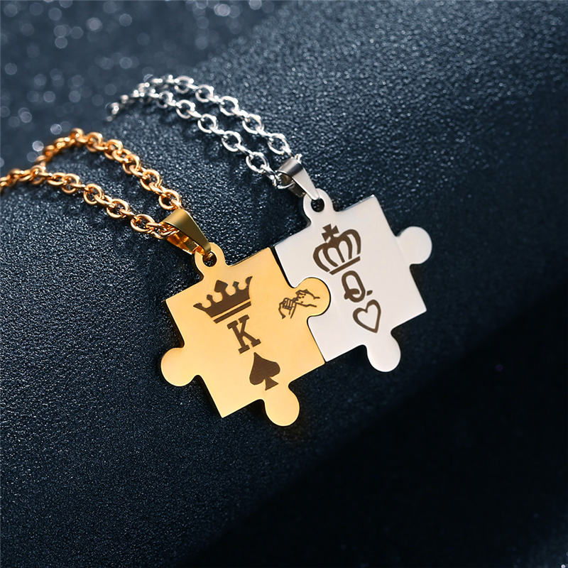 a172150384 2019 GAGAFEEL King&Queen Couple Necklaces With Crown Letter K&Q ...