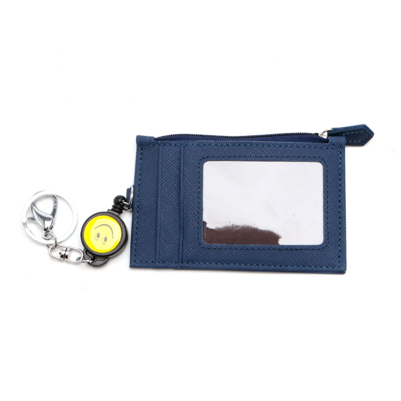 2017 Fashion Women Men Travel Business Credit ID Badge Card Holder Coin Purse Synthetic Leather Retractable Reel Keychain New