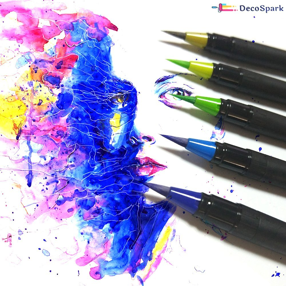 DecoSpark Watercolor Brush Pens Set Calligraphy Drawing Writing Ultra Bright Paint 48 colors Best Real Soft Brush Markers for Adult and Kids Coloring Books Highlighters Non-Toxic,Washable