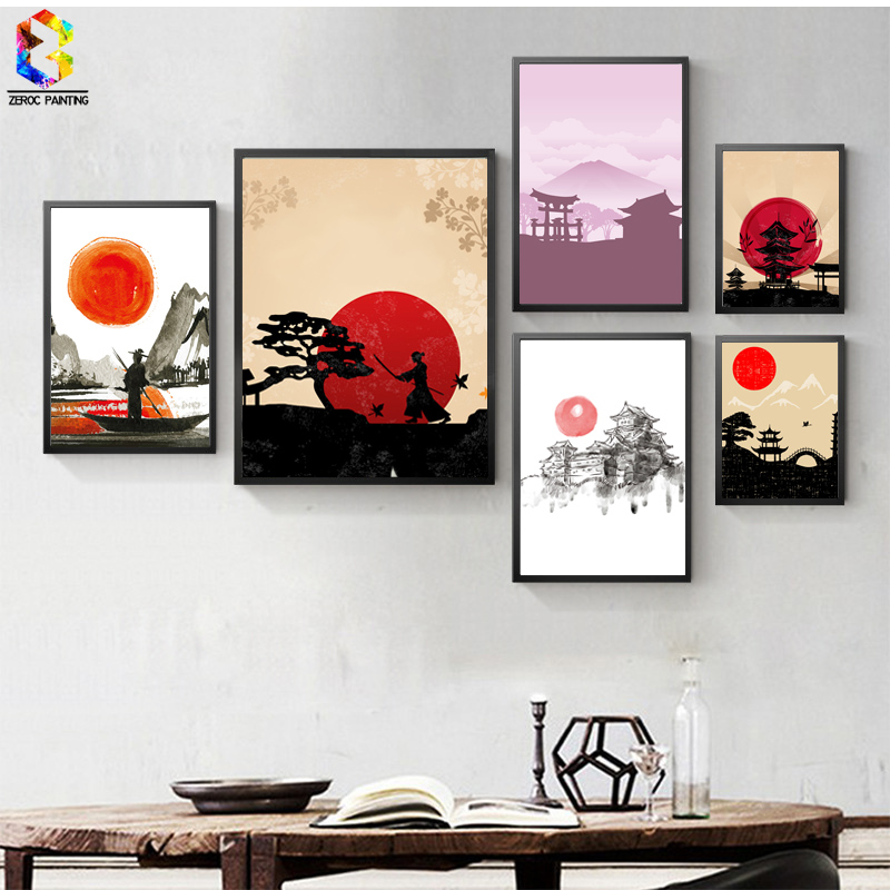 Japanese Ink Canvas Konsttryck Poster, Zen Väggmålningar för Living Room Decoration Home Decor