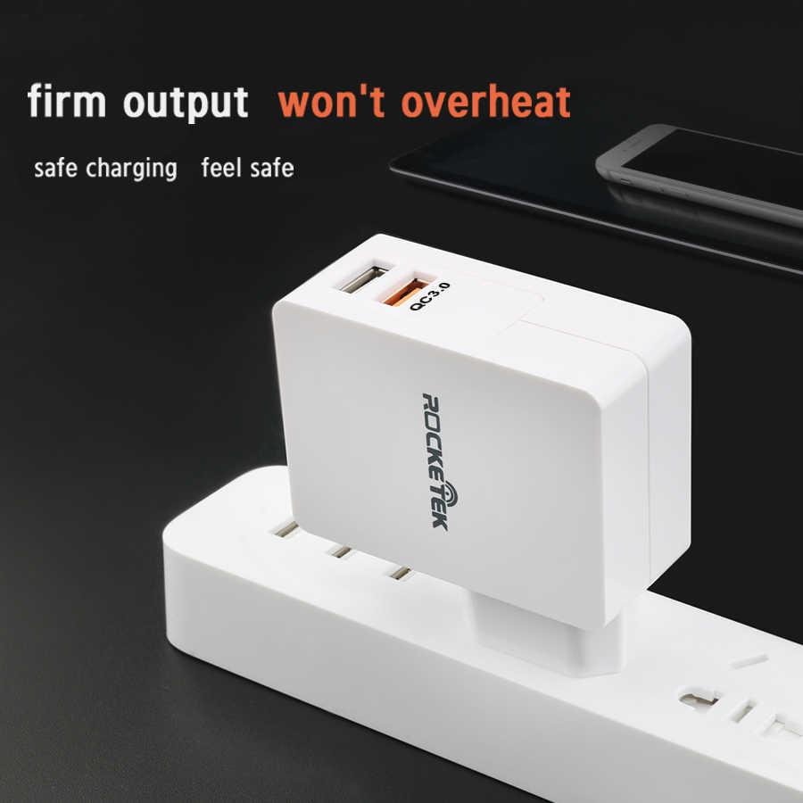 Rocketek USB سريعة تهمة 2 جهاز 3.0 سريع الهاتف المحمول شاحن آيفون سامسونج S6 7 هواوي الخ ، QC 2.0 مناسبة