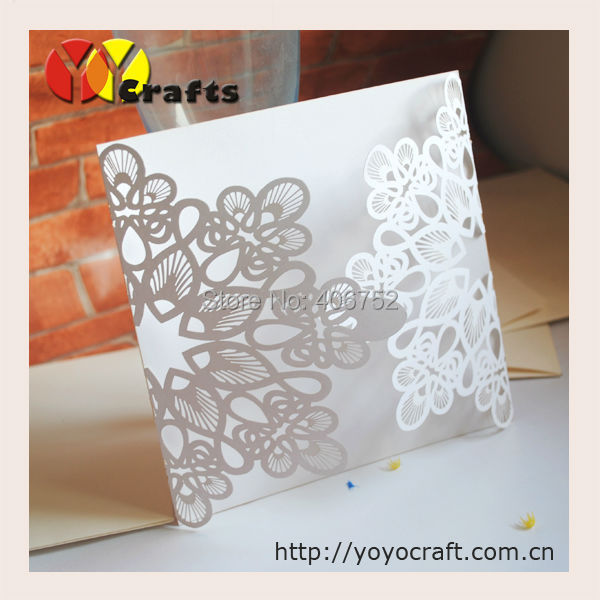 Unique design laser cut white flower lace luxury wedding invitation inner paper and rsvp card stopboris Images