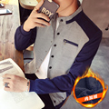 Thick!! 2016 New Arrival Winter High Fashion Men Casual Slim Long Sleeved Single Breasted Plaid Patchwork Jacket Black/Navy/Gray