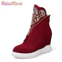 Купить с кэшбэком KaiziKarzi Size 32-43 Brand Shoes Women Real Leather Height Increasing Ankle Winter Boots For Women Zipper Flower Warm Botas