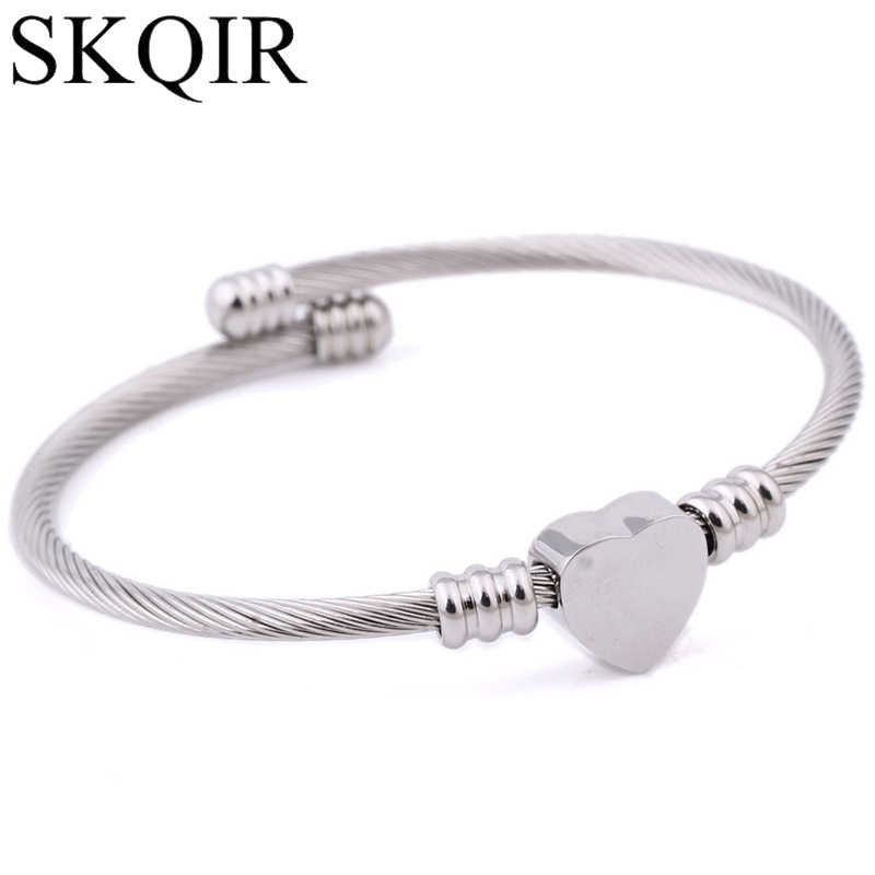 d4ed571bf55 SKQIR Fashion Gold/Silver/Rose Open Bangles Jewelry Women's Stainless Steel  Twisted Cable Wire