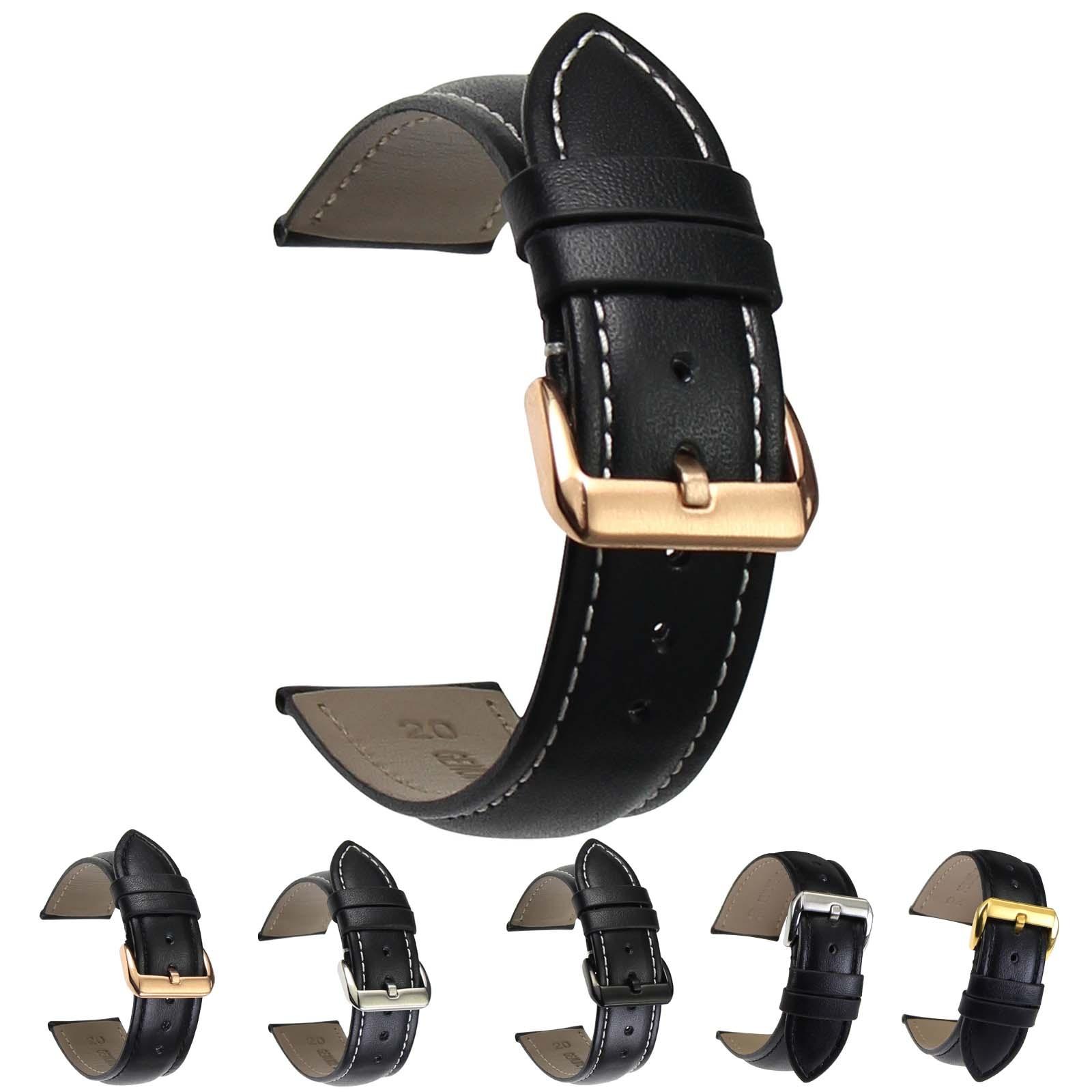 ZLIMSN Smooth Genuine Leather Watchband 18 20 22 24 26mm Brown Black Men Women Watch Belt