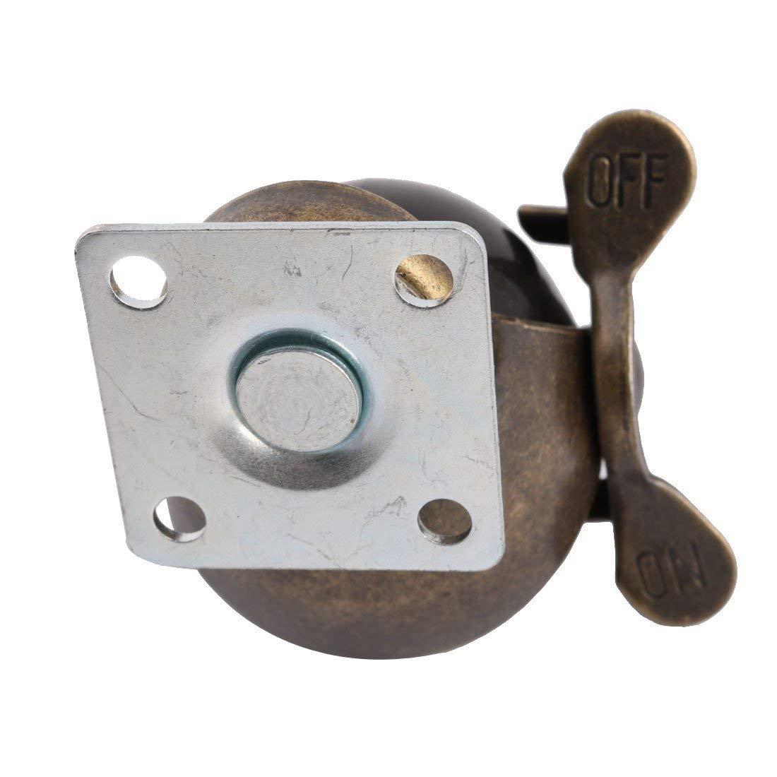 Útil [4 pacote] roda de rodízio de bola com capuz placa superior giratória, bronze antigo (1.5 polegadas com freio)-1