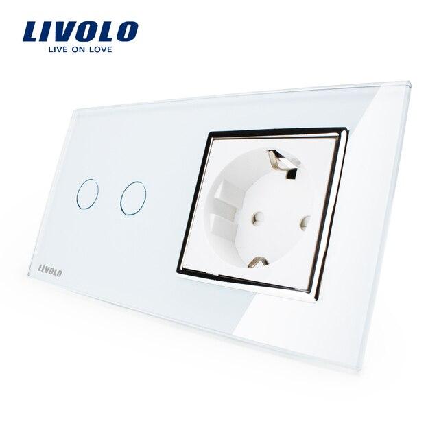Livolo ЕС стандартной Настенной Розетки, белый Кристалл Стеклянная Панель, сенсорный Выключатель с Розетки, VL-C702-11/VL-C7C1EU-11