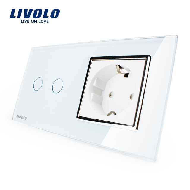Livolo 16A EU standard Wall Power Socket, White Crystal Glass Panel, Touch Switch with Wall Outlet, VL-C702-11/VL-C7C1EU-11