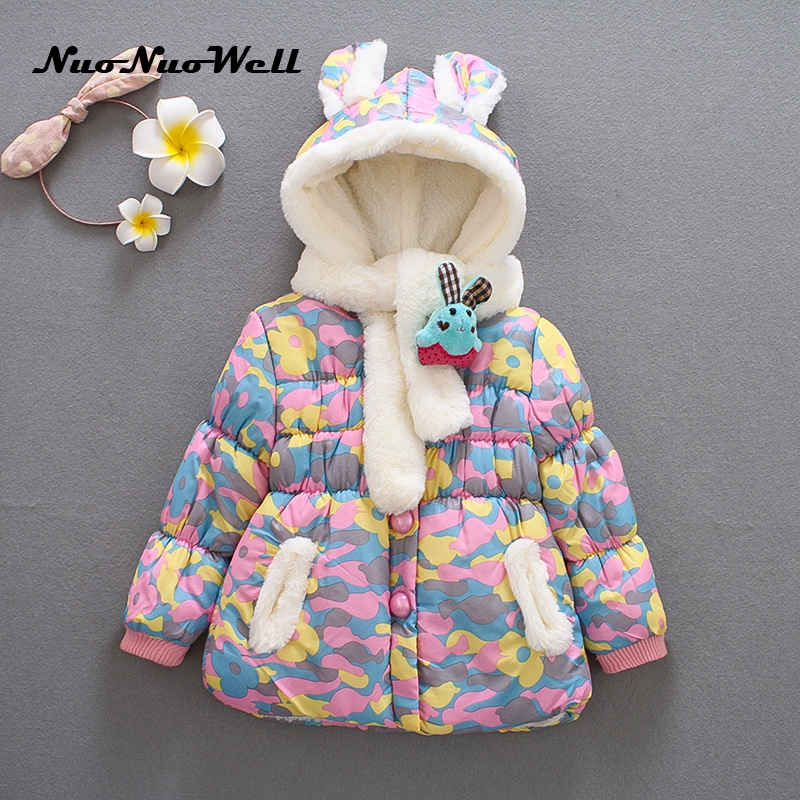 girl winter jacket boy warm hooded coat 12m 5t children fashion cute clothing kid cute clothes girl new long sleeve outerwear NNW New Baby Winter Coats Cute Rabbit Hooded Coat Girl's Jacket Warm Baby Jacket Children Winter Outerwear Thick Girl Clothing